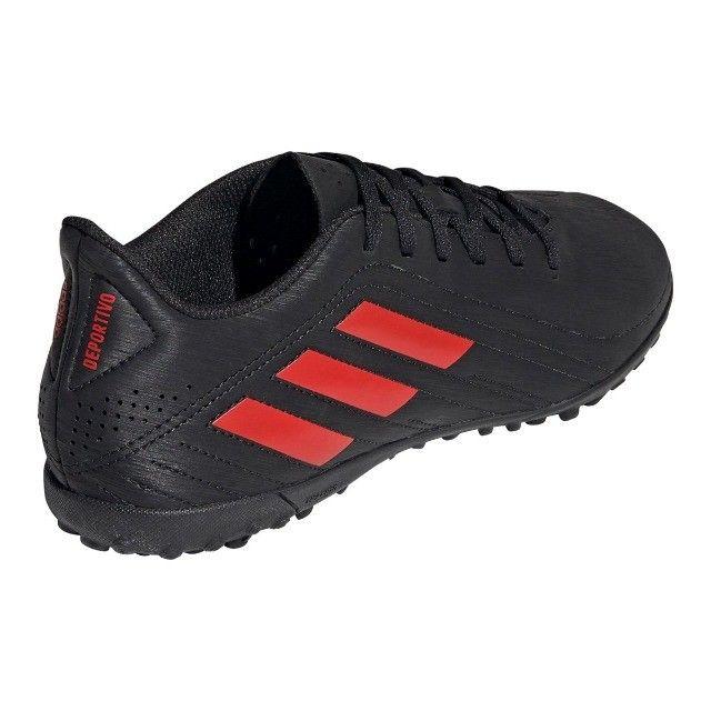 Chuteira Society Adidas Deportivo - Exclusiva - Preto+Vermelho - Foto 4