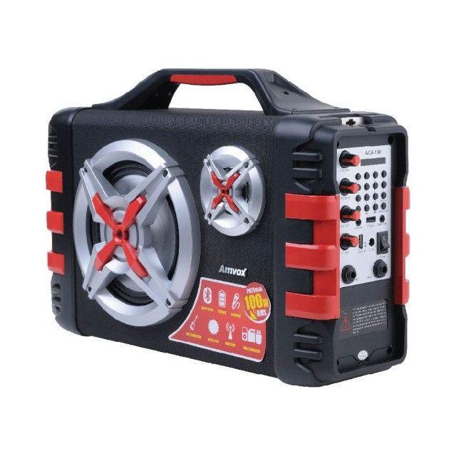 Som 100W Rms Bateria 4 Horas Rádio Bluetooth + Microfone P10 - Foto 2