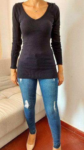 Calça jeans Siberian, blusa tricô preta, bermuda alfaiataria, camiseta forever 21  - Foto 4