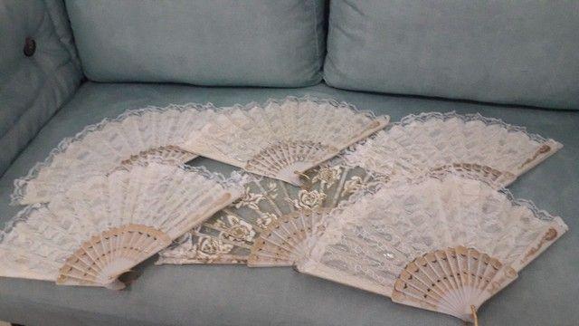 leques de tecido branco - jogo com 6 unidades