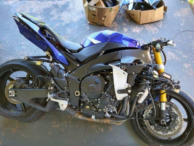 Sucata de moto para venda de peças Yamaha Yzf R1 crossplane 2014 14 - Foto 5
