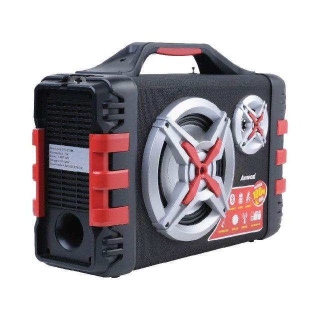 Som 100W Rms Bateria 4 Horas Rádio Bluetooth + Microfone P10