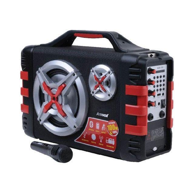 Som 100W Rms Bateria 4 Horas Rádio Bluetooth + Microfone P10 - Foto 3