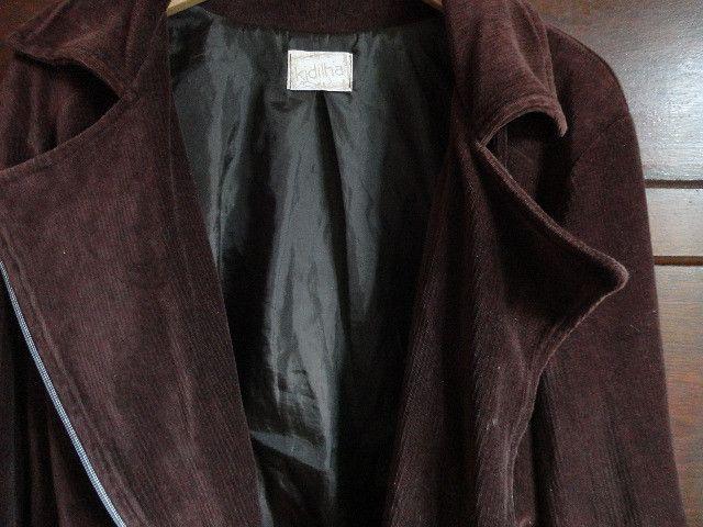 Casaco veludo marrom feminino estilo perfecto - Foto 3