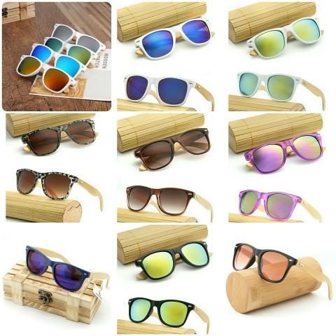 c8d8a6dfd Óculos de sol unissex lentes com proteção haste em bambù ...