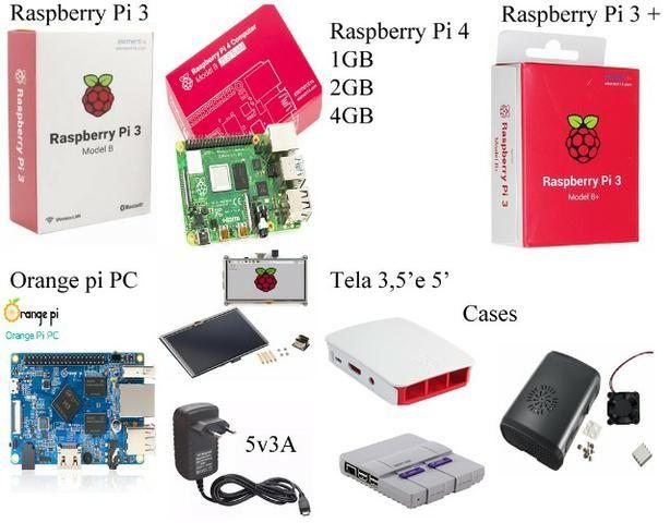 Raspberry Pi 3, 3+ e 4, Fonte, Case