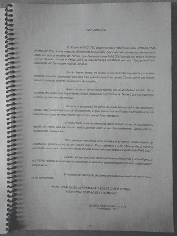 Manual De Instruções Torno Mascote Nardini 350 - Foto 2