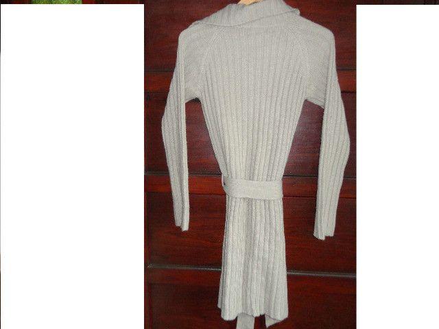 Casaco feminino em lã bege canelado - Foto 2