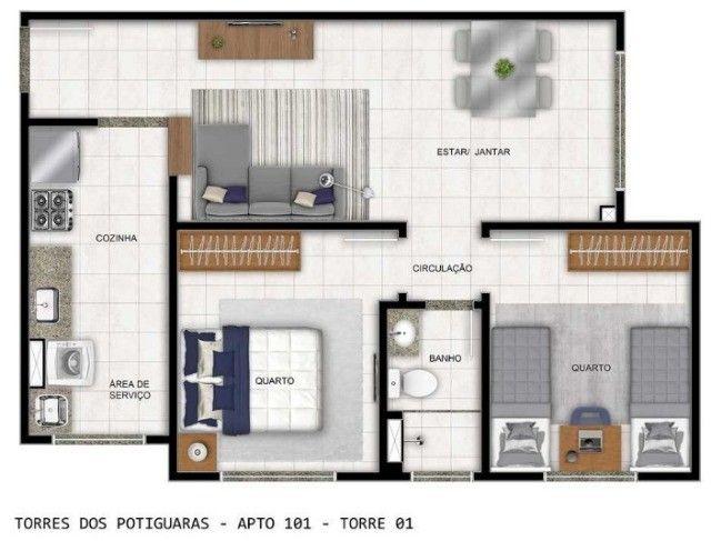 Apartamento em Cidade Satélite - Um/Dois Quartos - 40m²/50m² - Torres dos Potiguaras - Foto 12