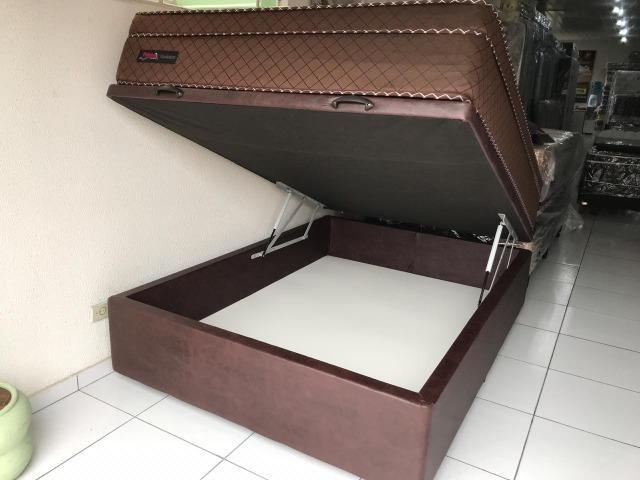 Cama Box Baú Casal + Colchão Palemax Molas Ensacadas - Pronta Entrega!