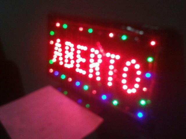 Placa luminosa led ABERTO comercio ou escritório
