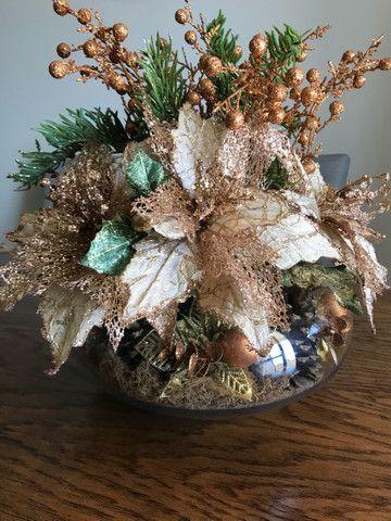 Decoração de Natal de mesa, cor bronze, vaso Redondo - Foto 6