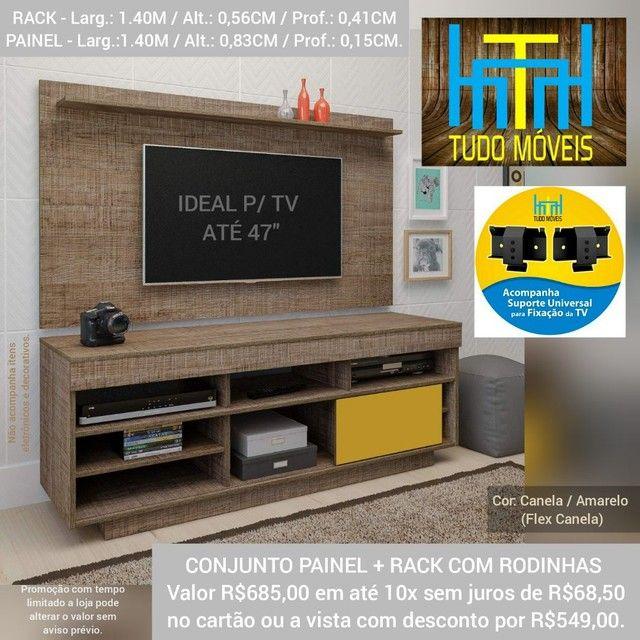 RACK COM PAINEL 1.40M P/ TV até 47' (MONTAGEM GRÁTIS) - Foto 2