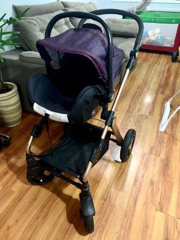 Carrinho de bebe importado, acompanha bebe conforto que encaixa no carrinho - Foto 5