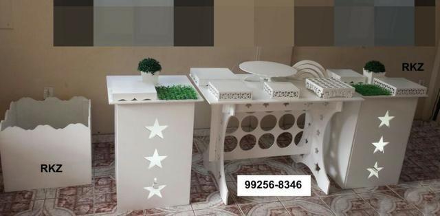 Aluguel Mesa clean mesa para festas *com cortinas