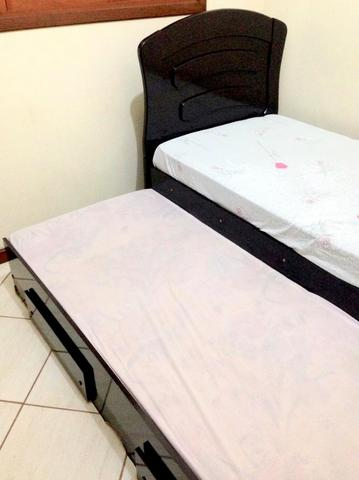 Bicama de solteiro - cama auxiliar com 2 gavetas - Tebarrot