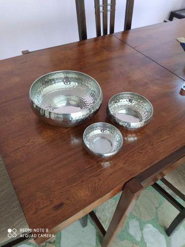 4 potes decorativos de aço inox