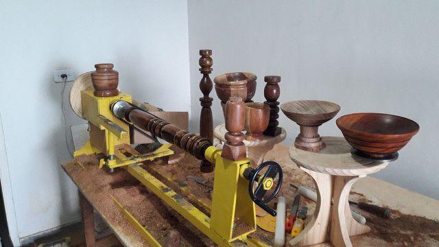 Torno de tornar madeira c.copiador marca de fabricação gomme usado para testes  - Foto 5