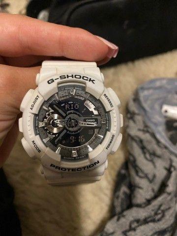 G shock original branco e pulseira com desenho