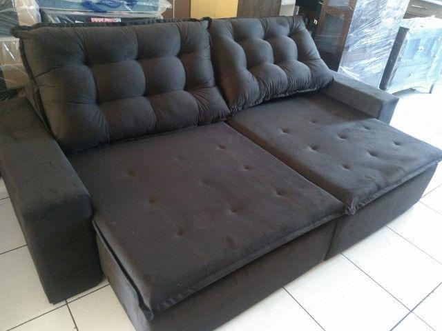 Sofa linha reta retrátil e reclinável