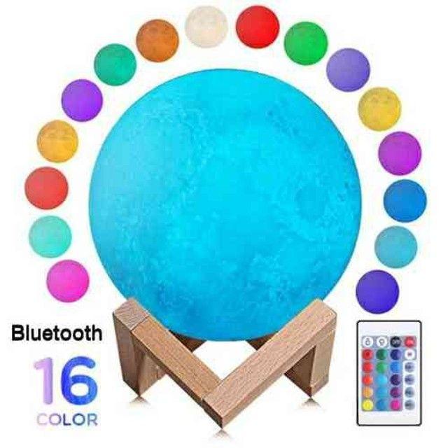 Luminária Lua Cheia 3D 16 Cores Bluetooth Caixa de Som - Foto 3