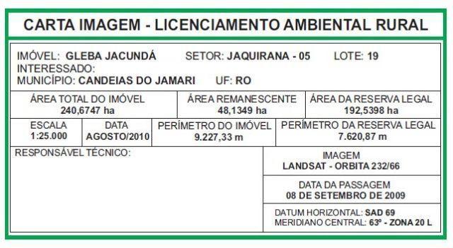 Lote de terra 240ha - Jaquirana - 90Km de porto velho