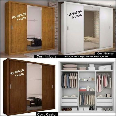 c9e208f03c8cb Guarda-roupa Casal Veneza 3 Portas de Correr e 4 Gavetas Promoção 970014009
