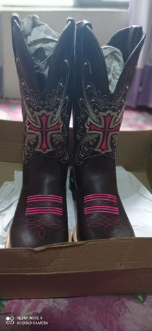 Bota botina texana feminina country em couro