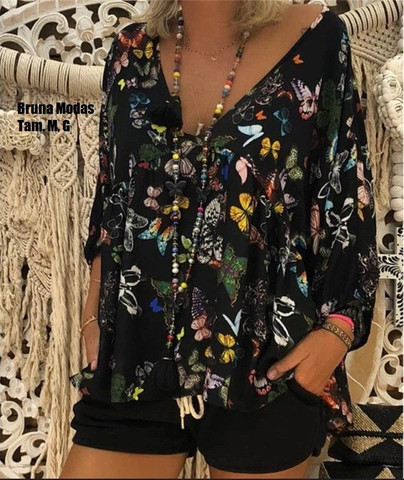 Blusa vintage estampa de borboletas (nova)