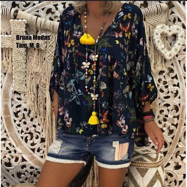 Blusa vintage estampa de borboletas (nova) - Foto 4