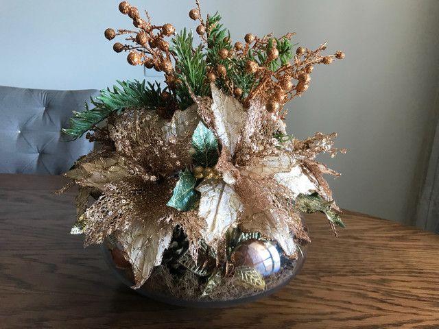 Decoração de Natal de mesa, cor bronze, vaso Redondo - Foto 5