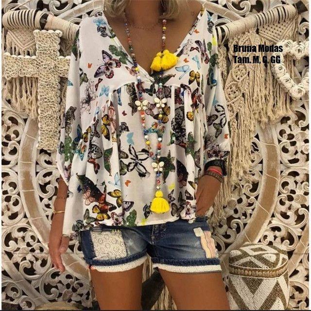 Blusa vintage estampa de borboletas (nova) - Foto 3