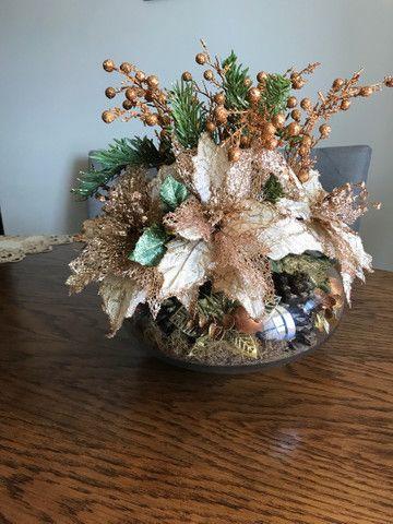 Decoração de Natal de mesa, cor bronze, vaso Redondo - Foto 2