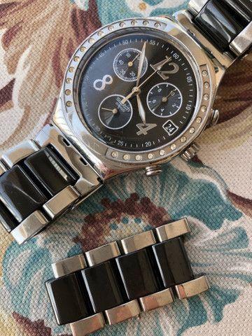 Relógio Swatch Feminino preto e prata Original