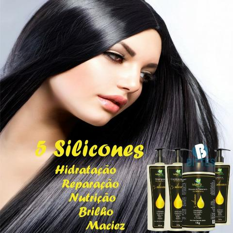 5 Kit Tratamento Hábito Cosméticos 5 silicones Hidratação Reparação Nutrição Brilho Força - Foto 3
