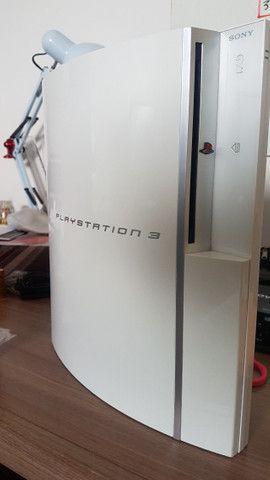 Playstation 3 PS3 Fat Branco HD 1Tb com mais de 50 jogos Novinho - Foto 5