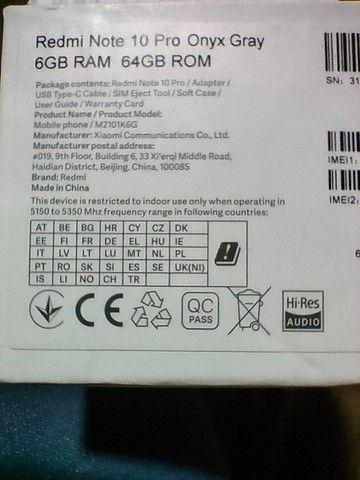 Redmi Note 10 Pro lacrado Onyx gray  [versão Global 64gb] 6gb Ram - Foto 2