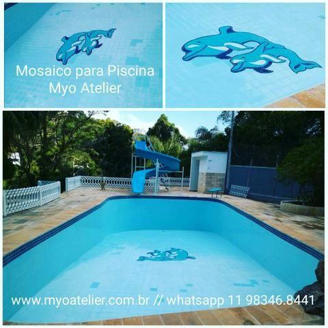 Âncora Mosaico, piscina, golfinho, mandala, piso mosaico - Foto 2