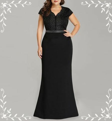 3f62731e0 Vestido De Festa Plus Size Black Noah Sereia Luxurs Ever - Roupas e ...