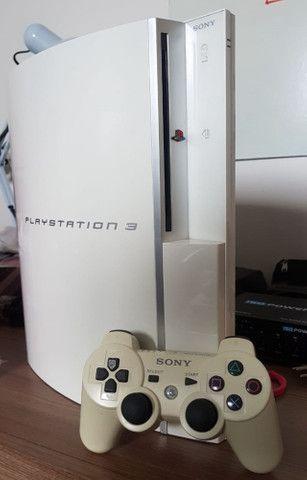 Playstation 3 PS3 Fat Branco HD 1Tb com mais de 50 jogos Novinho - Foto 3
