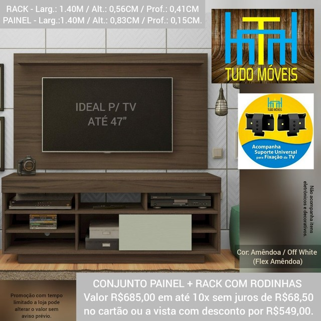 RACK COM PAINEL 1.40M P/ TV até 47' (MONTAGEM GRÁTIS) - Foto 3