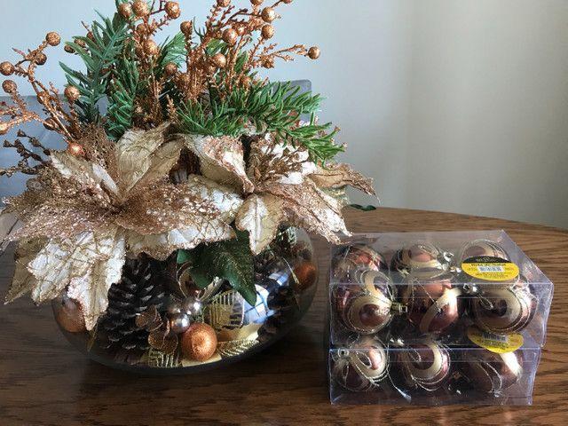 Decoração de Natal de mesa, cor bronze, vaso Redondo