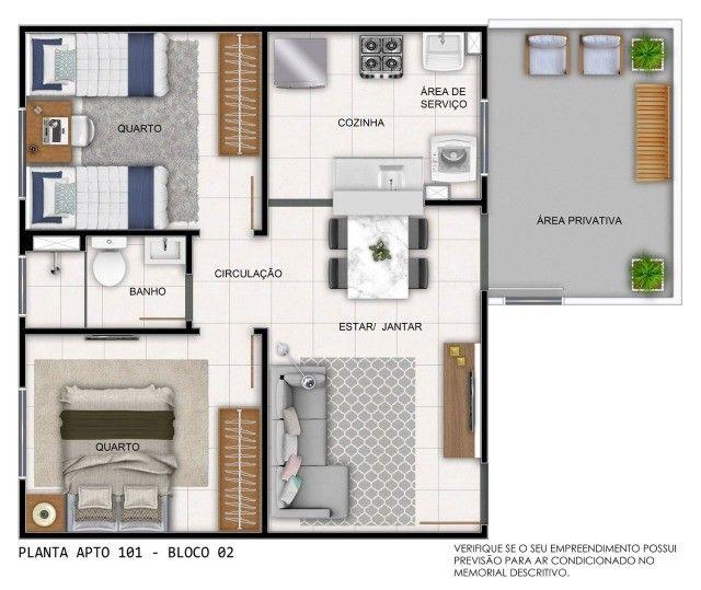 Apartamento em Cidade Satélite - 2/4 - 48m² - Nova Amsterdã - Documentação Grátis - Foto 8