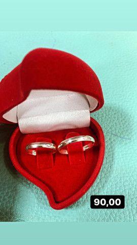 Aliança de namoro prata 925 - Foto 2