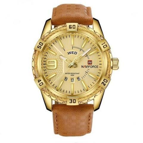 76608a97b1a Relógio De Pulso Masculino Naviforce 9117 Couro Luxo Casual ...