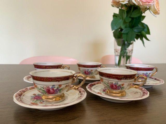 Jogo de xícaras porcelana schmidt antiga - Foto 5