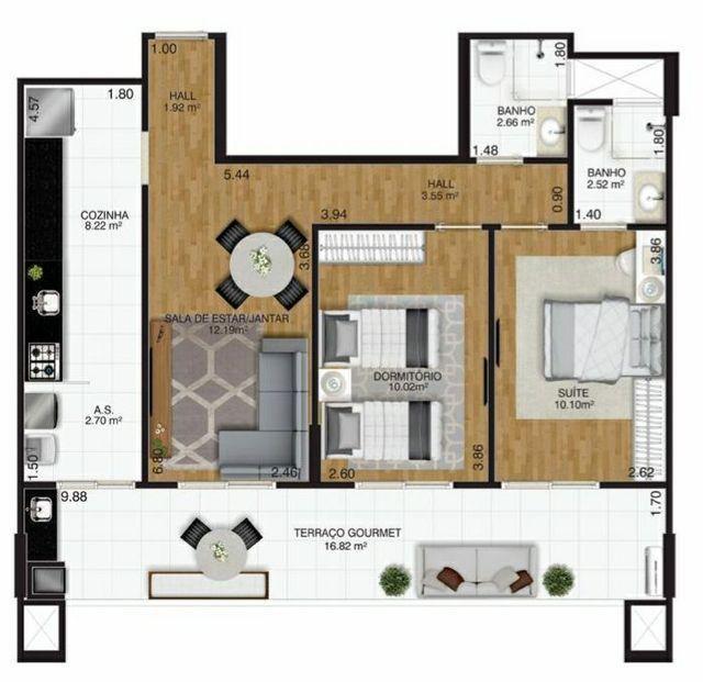Parcela 1.690,00 - 78 metros, 2 dormitórios 1 suite Entrega em 2021 - Foto 9