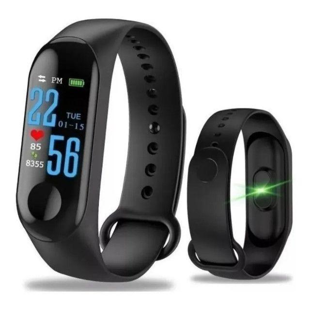 Relógio Pulseira M3 Monitor Cardíaco + Pulseira De Brinde