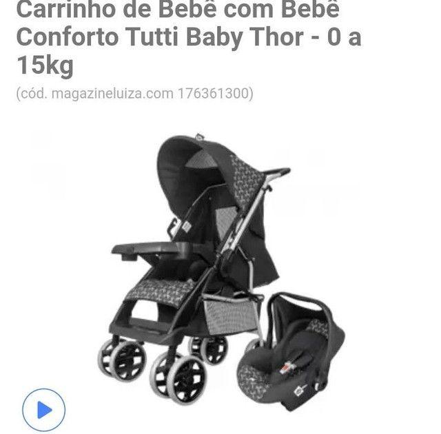 Carrinho de passeio infantil + bebê conforto  - Foto 3