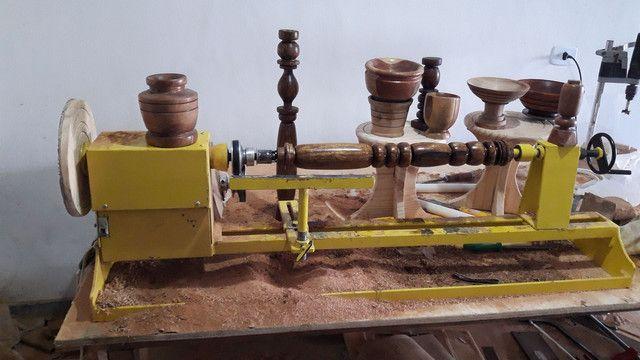 Torno de tornar madeira c.copiador marca de fabricação gomme usado para testes  - Foto 3